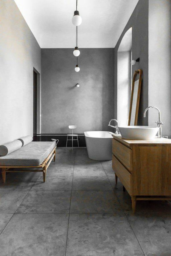 salle de bains grise, jolie salle de bains, meuble sous vasque en bois, designs contemporains