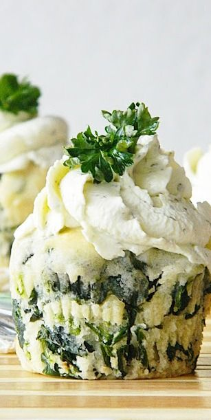 Spinach Feta Muffins with Herbed Cream Cheese