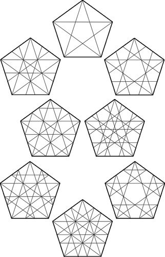 Doodling around with pentagonal grids. This will hopefully help some of you understand how to make them, and why they're not always the same. ...And that's the end of my four-day weekend! G'night folks...