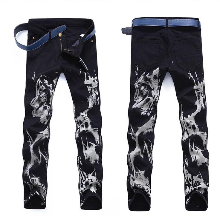 TR Mens skinny jeans black print nightclub biker pants male personality denim pantalon casual homme trousers man clothing