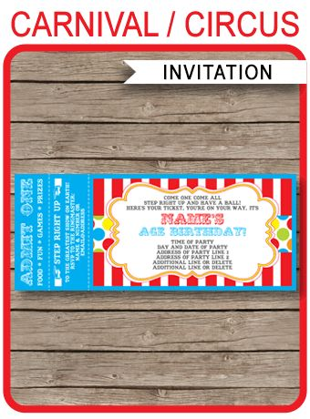 ★INSTANT DOWNLOAD★ Circus or Carnival Party Ticket Invitation template. Personalize the editable template at home. Download, edit and print right now!