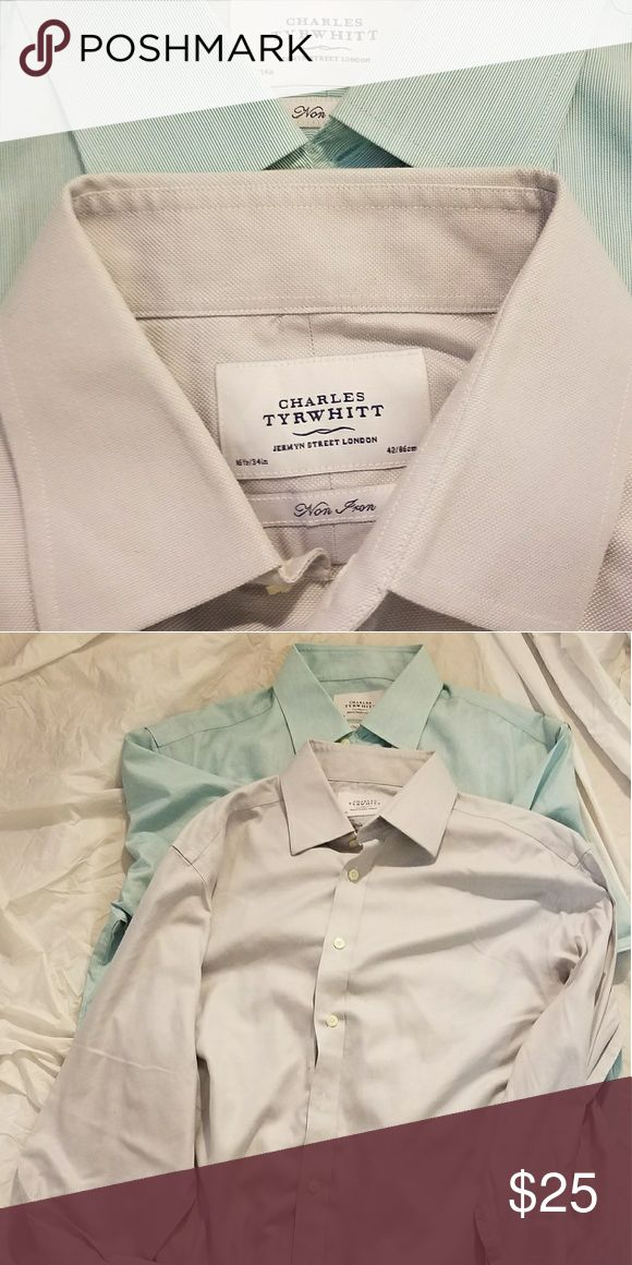 Lot of 2 CHARLES TYRWHITT Non Iron Dress Shirts PREOWNED Great Condition  Solid Colors Non Iron Size:  16.5 - 34 charles tyrwhitt Shirts Dress Shirts