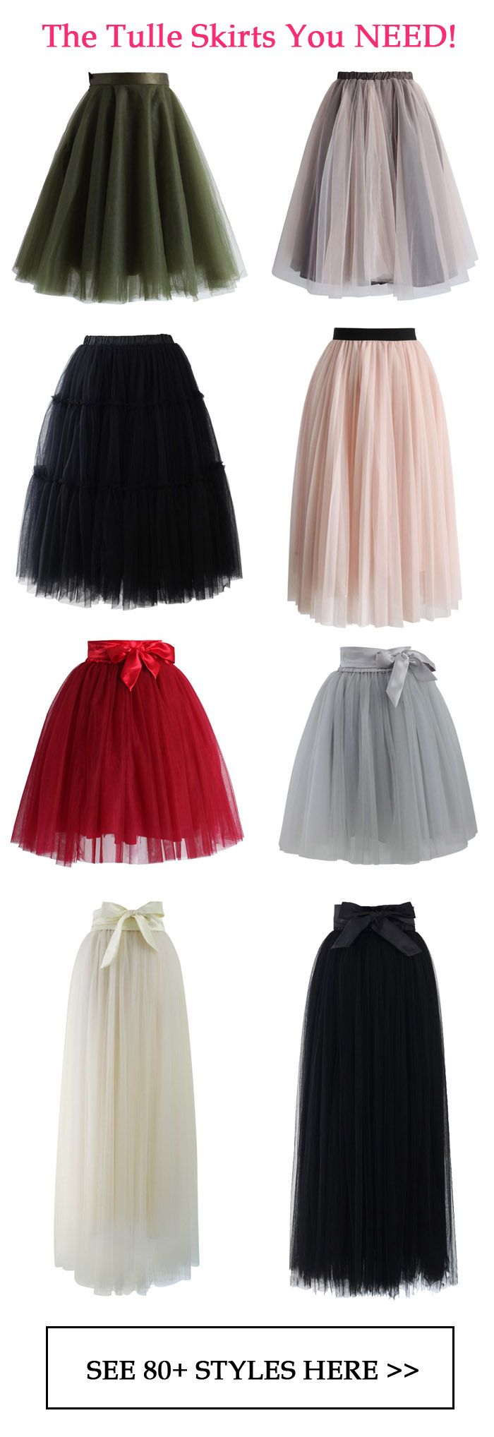 The tulle skirts you need! Our tulle skirt features a satin waistline, a flattering flit-and-flare cut and 5 layers of delicate, gracefully flowing mesh!
