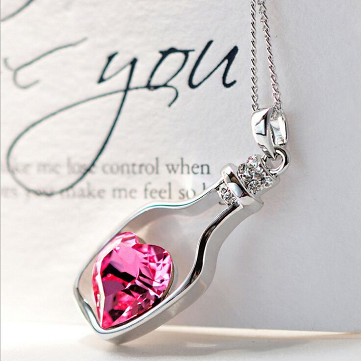 Sale Fashion Romantic Drifting Bottle Pendant Clavicle Crystal Rhinestone Heart love Necklace Jewelry Gift
