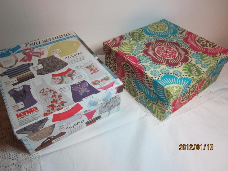 Cajas de zapatos forradas con revistas y servilletas de - Decorar cajas de madera con servilletas ...