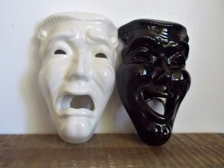 Vintage Black and White Ceramic Comedy Tragedy Theater Wall Masks by ObjetLuv on Etsy