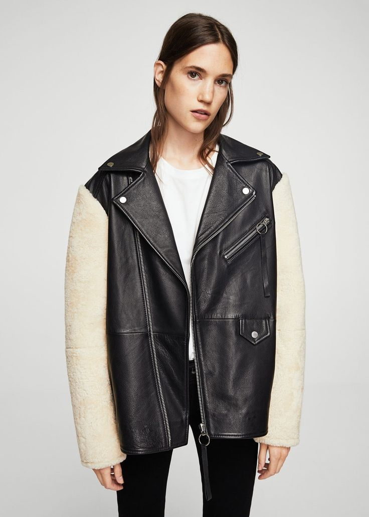 Shearling-lined leather jacket - Women | MANGO USA