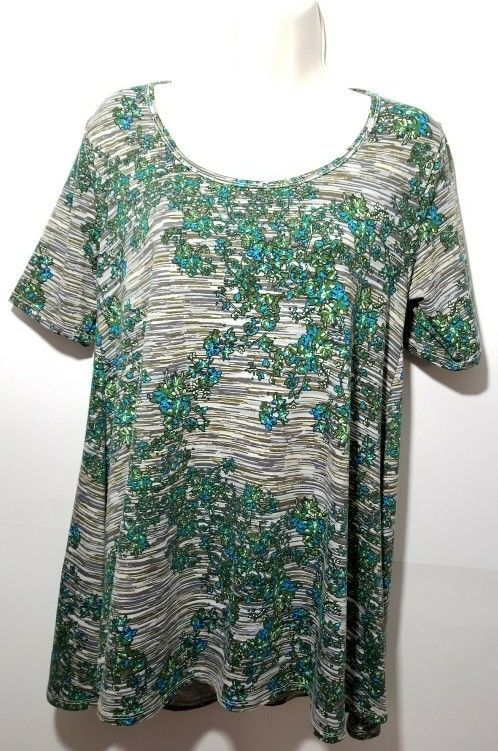 LuLaRoe Perfect T Womens XS Gray Blue Green Floral Print Shirt Top, NWOT #LuLaRoe #KnitTop