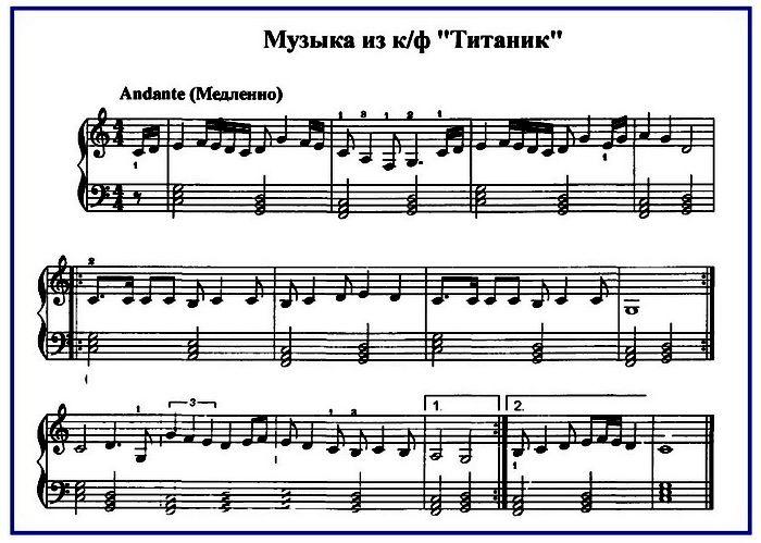 Титаник ноты для фортепиано | Ноты | Фортепиано ноты