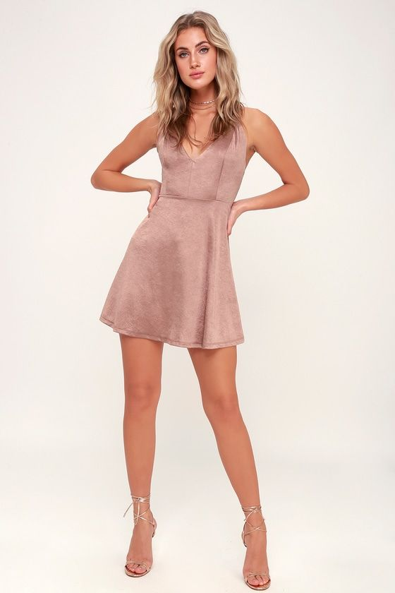 41fc2db536 Shimmy Shake Rusty Rose Satin Skater Dress