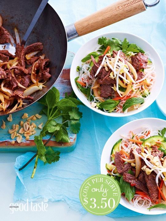 RICE NOODLES WITH LEMON GRASS & BEEF ~ recipe Sonja Bernyk ~ pic Brett Stevens/NewsLifeMedia