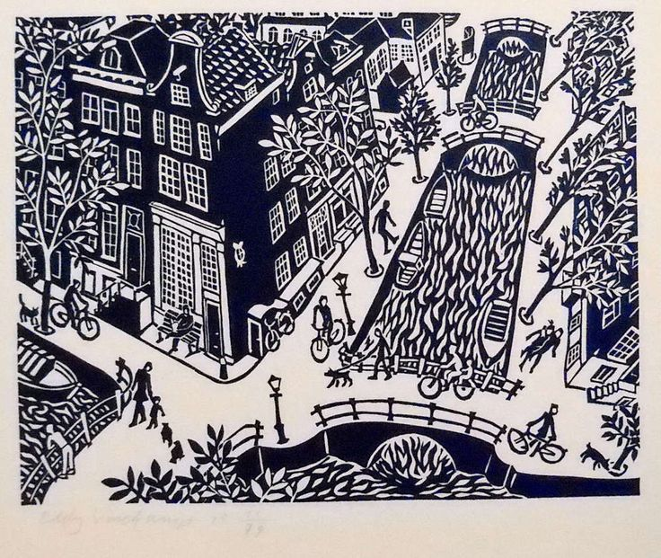 Keizersgracht, Amsterdam - Linocutprint