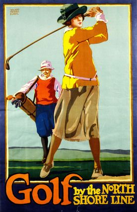 Golf By The North Shore Line, by Willard Frederic Elmes. Colour lithography. Chicago, US, 1923. #Lady golfer