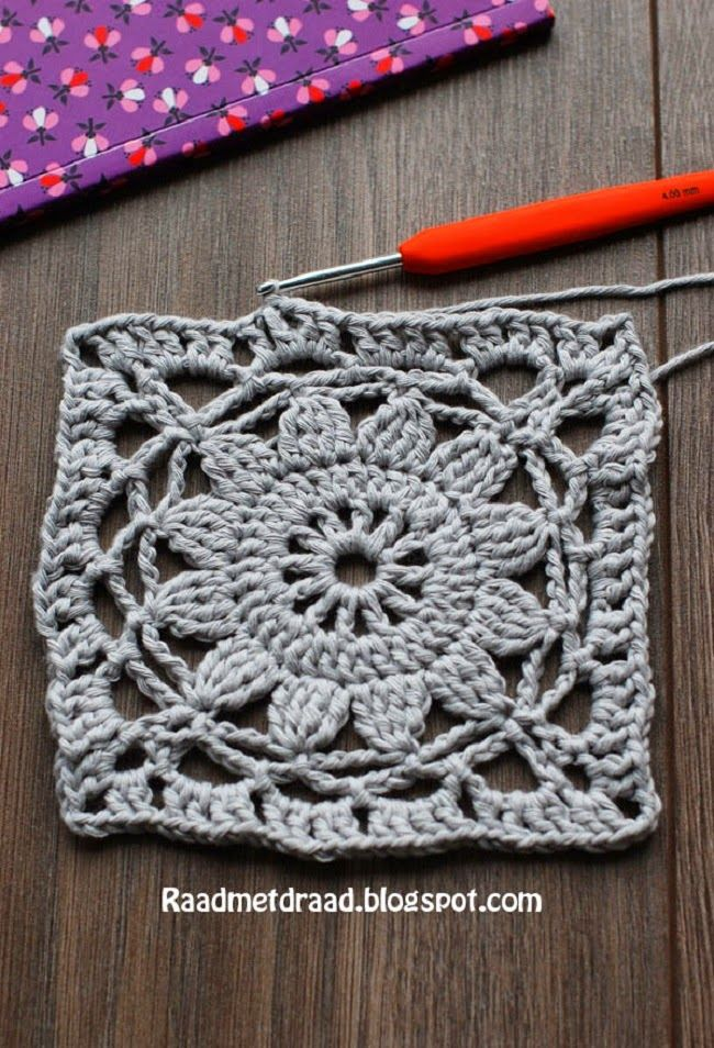 FINSE GRANNY - what a fab granny! Pattern found on the blog Raad met Draad (in Dutch).
