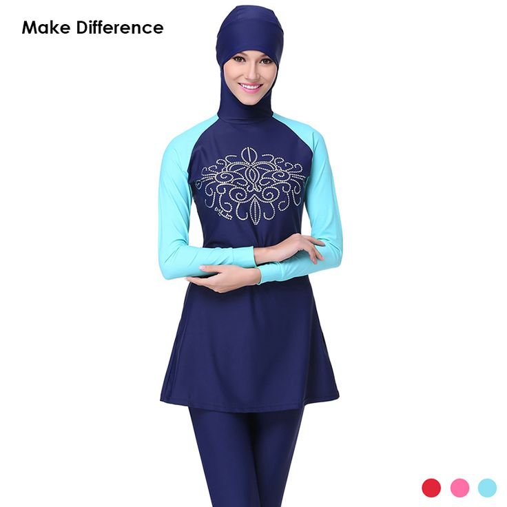 Make Difference Islamic SwimSwimSuits Plus Size Swimwear Full Cover Long Modest Islamic Hijab Swimwears Burkinis for Muslim Womens Ramadan <3 AliExpress Affiliate's Pin.  Locate the AliExpress offer simply by clicking the image