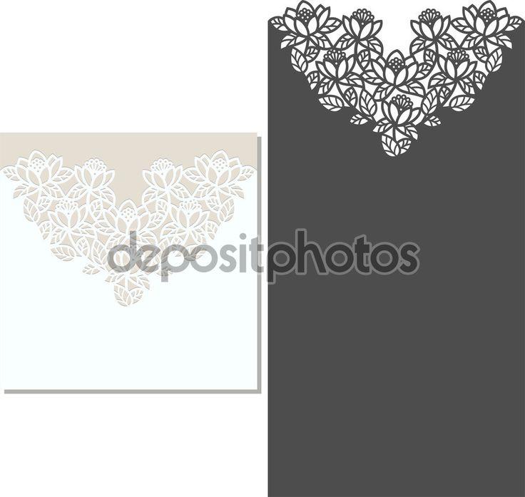 Patrón de corte invitación tarjeta Laser-corte laser para invitación de boda. Plantilla de sobres de invitación de boda