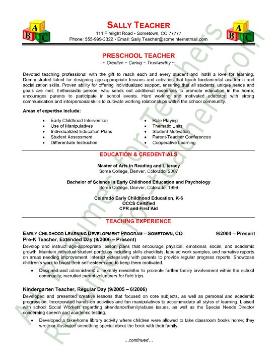 Preschool Teacher Resume Sample Teacher Resumes Teaching Resume