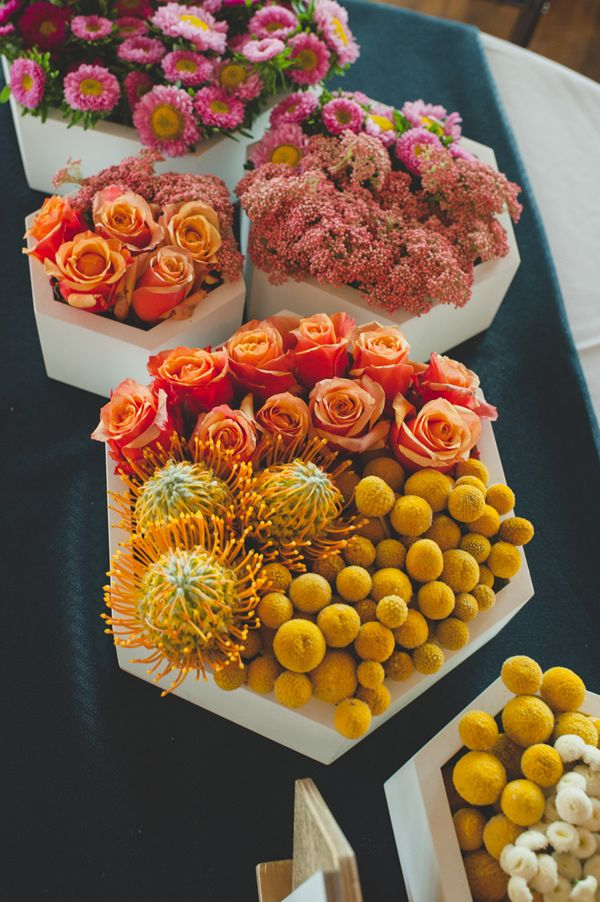 hexagon centerpiece planters, photo by Spindle Photography http://ruffledblog.com/the-notwedding-birmingham #weddingideas #centerpieces #orange