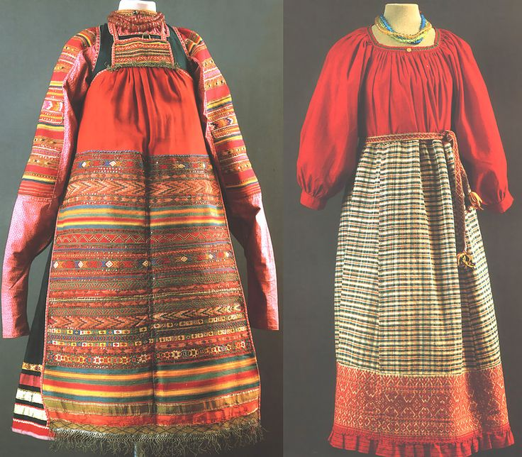 Left: Ceremony, Moscow Province., ser.19v. - A shirt, a dress, apron, amber beads Right: Maiden Ceremony, Arkhangelsk Province., nach.20v. - Mowing shirt, belt