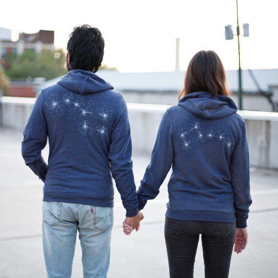 Big Dipper Little Dipper Zip Hoodie set, graphic hoodies for men and women, his and hers sweatshirts, couples gift, navy blue hoodies