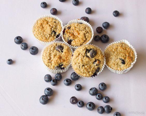 Havermout muffins met blauwe bessen, lekker en gezond ontbijt of tussendoortjes