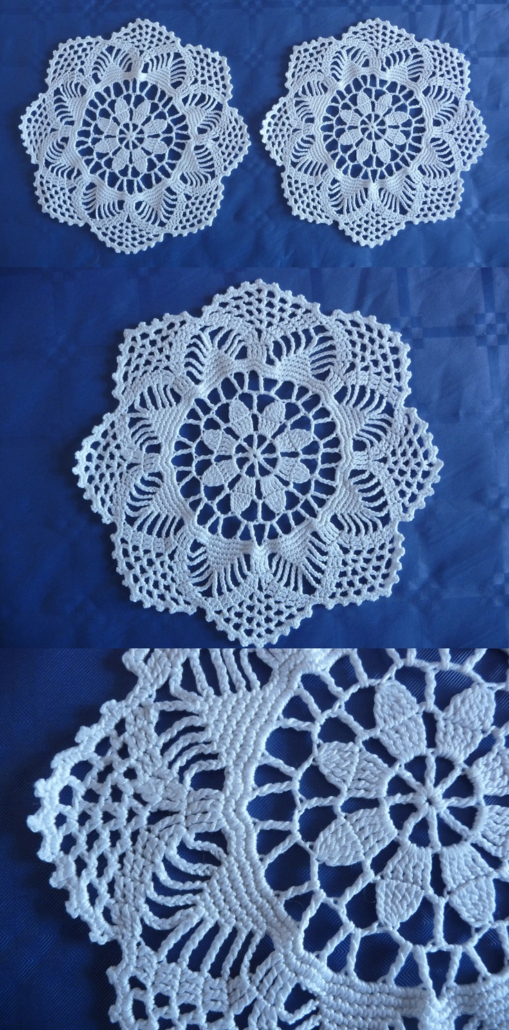 Set of two white, round, crocheted doilies NICE!
