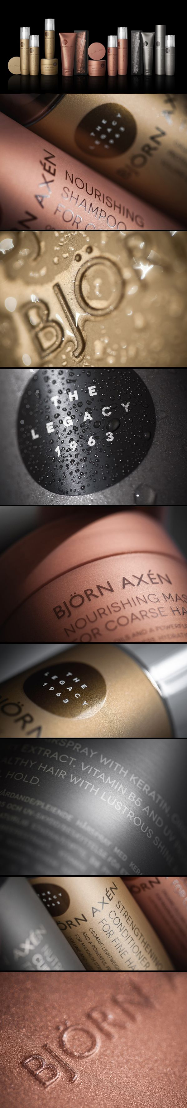 """Packaging for """"The Legacy 1963"""" – a series of premium hair care products from Björn Axén"""