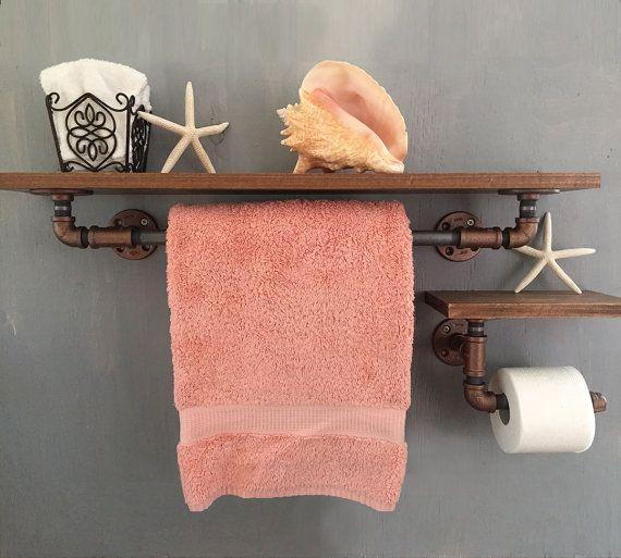 Industriële stijl handdoekbeugel en WC-Rolhouder door BeachWallDecor
