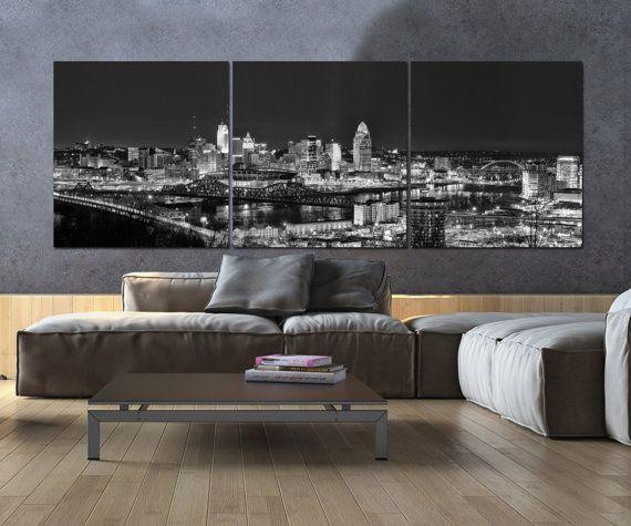 Cincinnati Skyline on Canvas B&W Large Wall Art Cincinnati