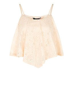 Teens Shell Pink Flounce Lace Cami  | New Look