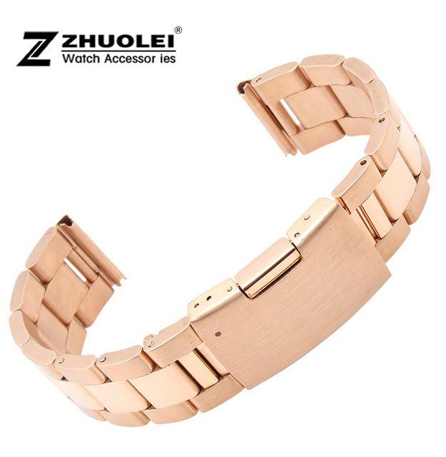 Do Brused / homens polido ouro rosa de aço inoxidável faixa de relógio pulseira Strap reta final 18 mm 19 mm 20 mm 21 mm 22 mm fivela