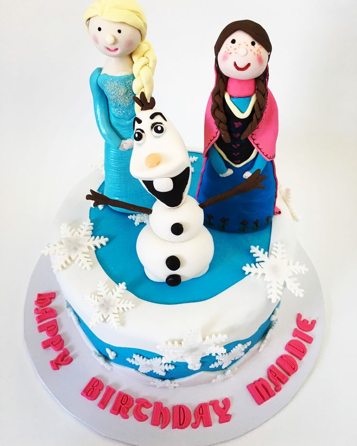 Frozen Cake Elsa, Anna, and Olaf cake toppers