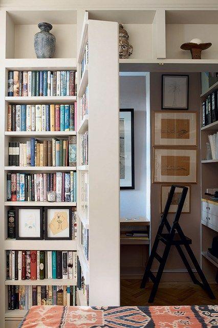 Best 25 bookcase door ideas on pinterest diy bookshelf for Hidden home office ideas