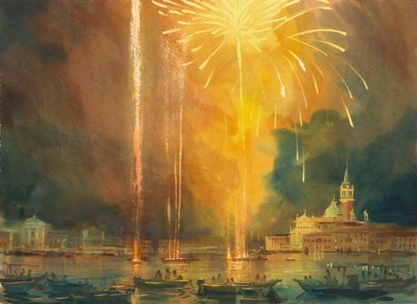 "Alexander Creswell - Venice Redentore - Fireworks Study 3, Watercolour on paper 22"" x 30"""