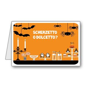 """Biglietto di invito per Halloween """"dolcetto o scherzetto?"""" pronto da stampare"""