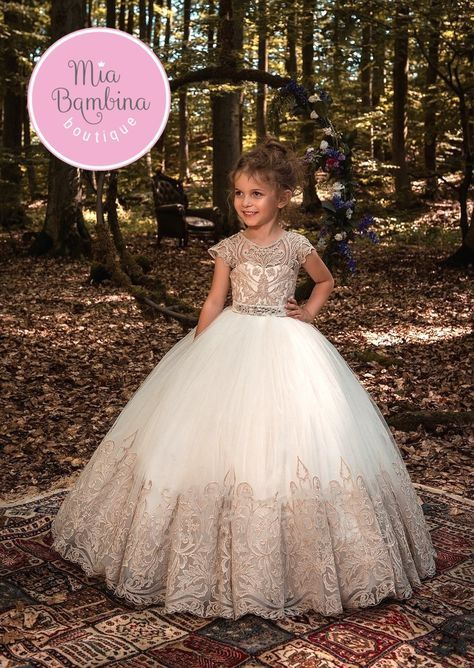 611ffb26c Flower Girl Dresses Morocco flower girl dress with fitted gold lace ...