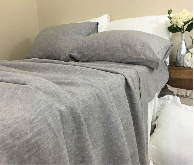 Chambray Graphite Grey Linen Bed Sheets Gray Affordable Best Top Sheet Flat Ed