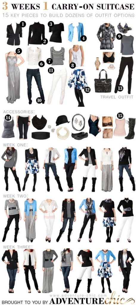 fall travel wardrobe - 3 weeks, 1 carry-on! (Travel? This looks good for my closet... minus the white pants, as I'm not a fan. I would swap them for another black pair.)