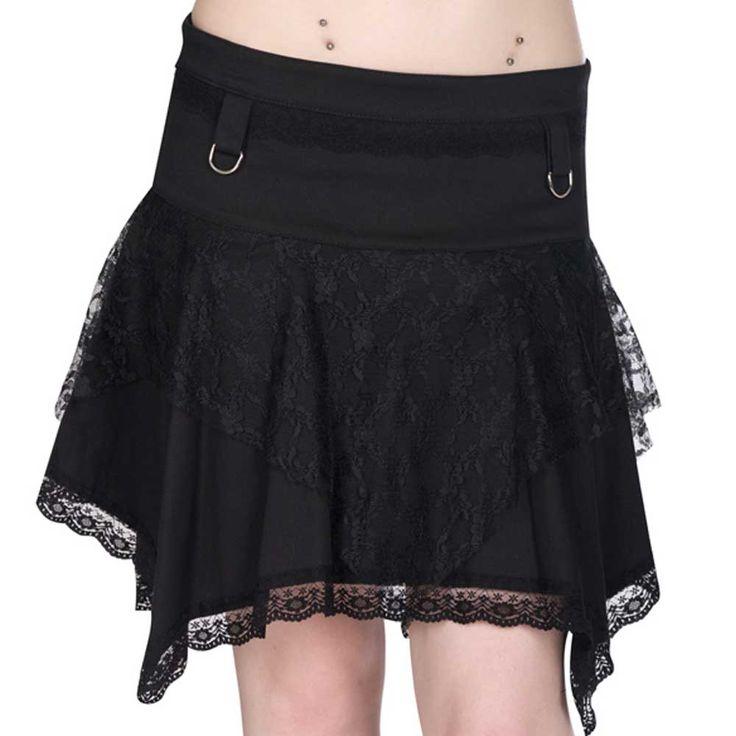 Mini rokje van spijkerstof met o-ringen en kanten details zwart - Gothic Metal Rock