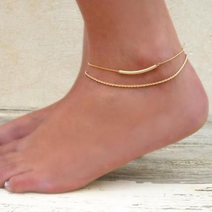 w double butterfly gold anklets stainless from chain anklet leg steel women jewelry item layer fashion foot bracelet in rose
