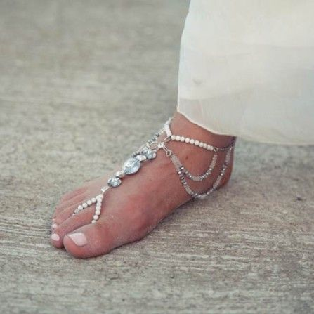Sally Rose White Label Auchettl - Handmade footpiece with Swarovski crystals, white howlite and smokey quartz and hematite faceted beads, finished with sterling silver clasp. Wedding accessories Melbourne.