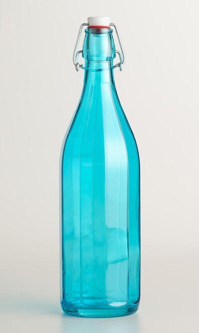 Aqua Glass Bottle With Clamp Lid Aqua Glass Glass