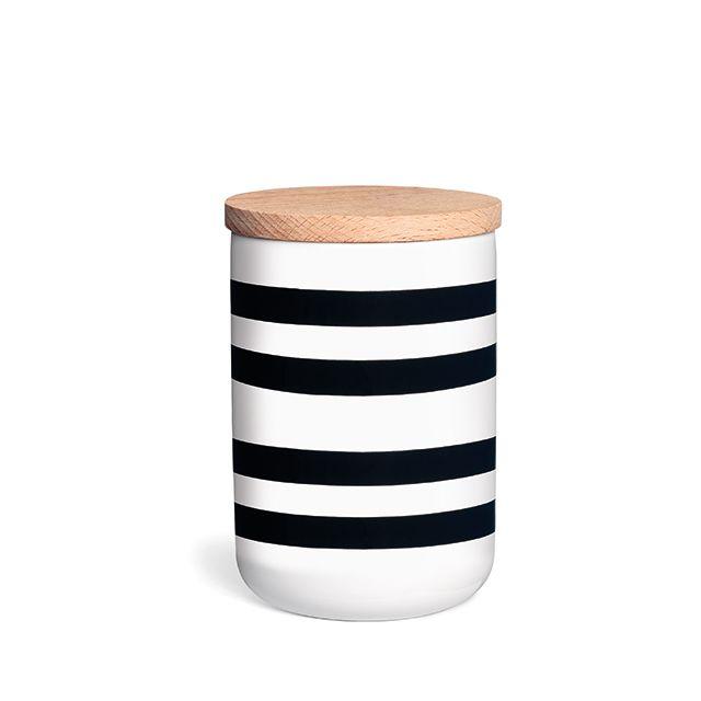 Omaggio Storage Jar with black stripes, small