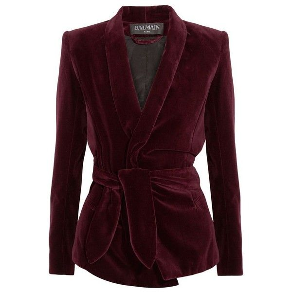 Balmain Belted velvet blazer ❤ liked on Polyvore featuring outerwear, jackets, blazers, balmain, brown jacket, velvet jacket, blazer jacket and brown velvet jacket