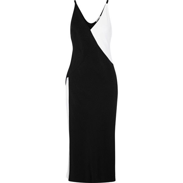 TOME Two-tone wrap-effect crepe midi dress (1.935 RON) ❤ liked on Polyvore featuring dresses, slip dress, wrap dress, black and white cocktail dress, special occasion dresses and midi evening dresses