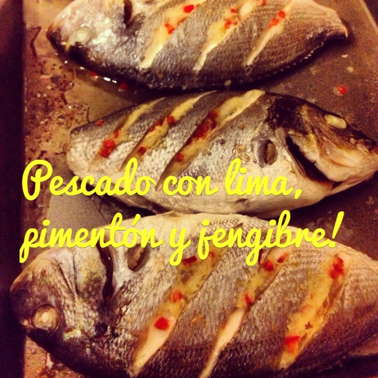 Fish with lime, chilli and ginger.