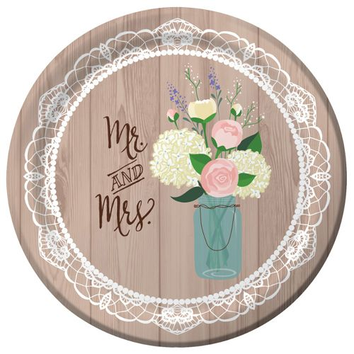Rustic Wedding Paper Plates - 25cm - Pack of 8