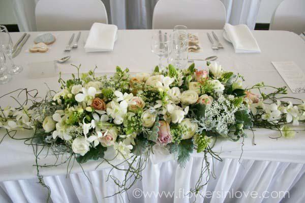 Bridal table flower arrangement