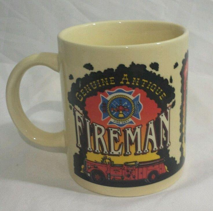 FIREFIGHTER Fire Dept Truck Mug Cup Still Smokin' 1997 funny Gag Gift