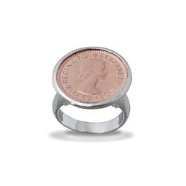 Von Treskow Sterling Silver Rose Gold Plated 6 Pence Queen Coin Ring (001-021-08587)